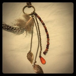 Boho style long necklace feather leaves beads